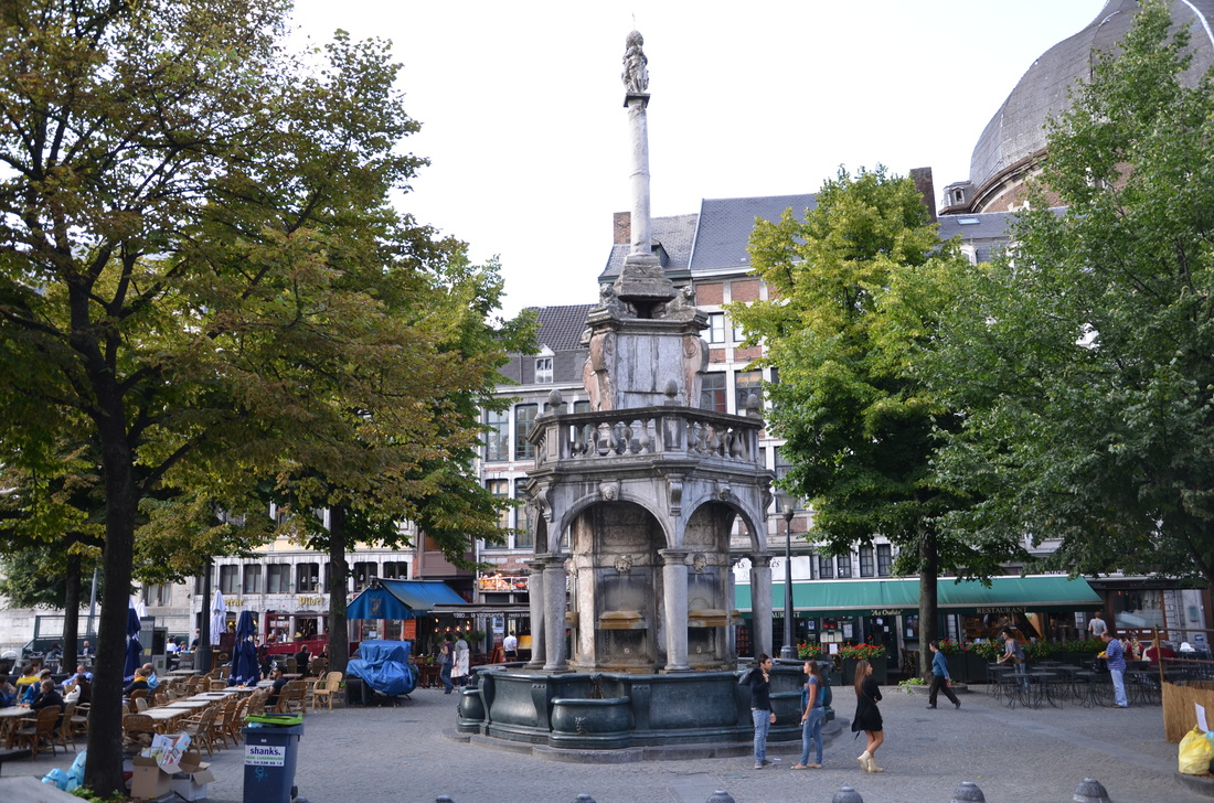The fountain in Liege, which was in the past a symbol of the bishop and now a symbol of Liege. Belgium.