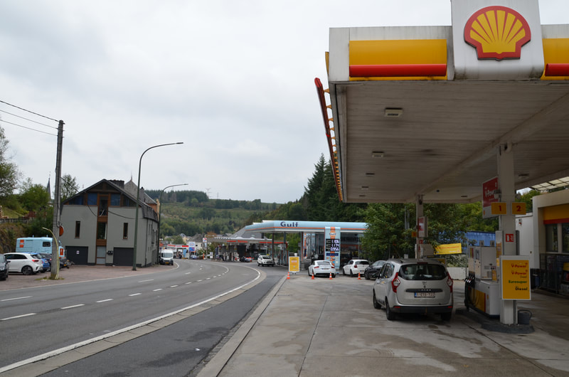 Martelange. Belgium / Luxembourg. Petrol stations at the border.