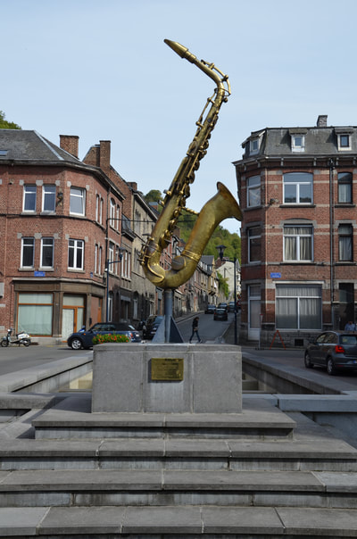 The saxophone statue in Dinant. Belgium.
