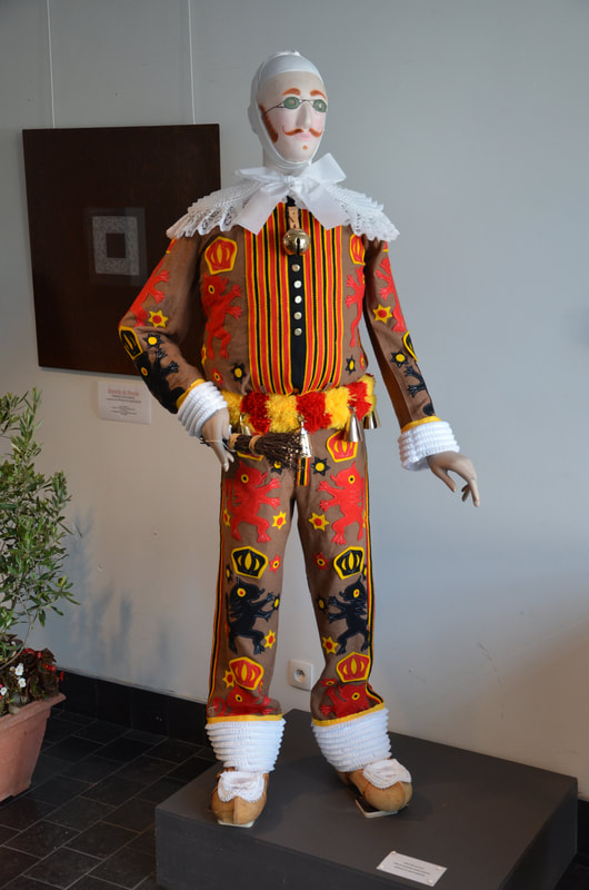 A costume worn by participants of the Binche carnival. Belgium.