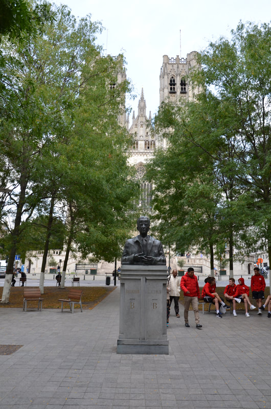 Statue of King Baudouin in front of the Cathedral of Saints Michael and Gudula in Brussels. Belgium.